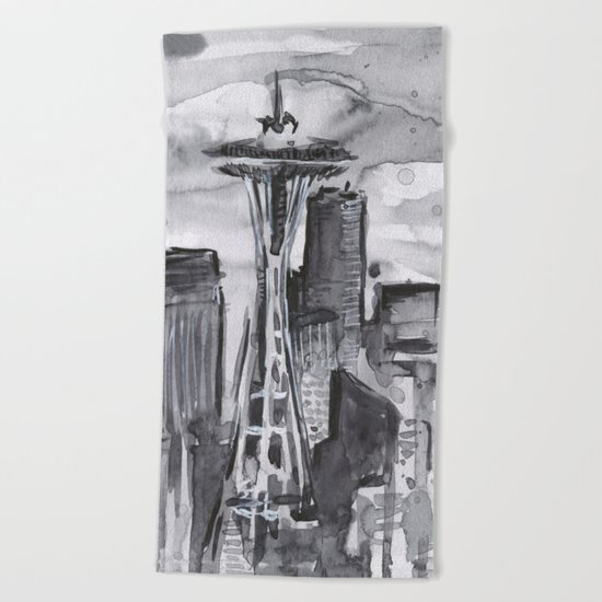 Seattle Skyline Watercolor Space Needle Beach Towel