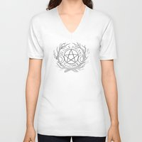 pagan V-neck T-shirts featuring Mills College Pagan Alliance Logo by Rowan Weir