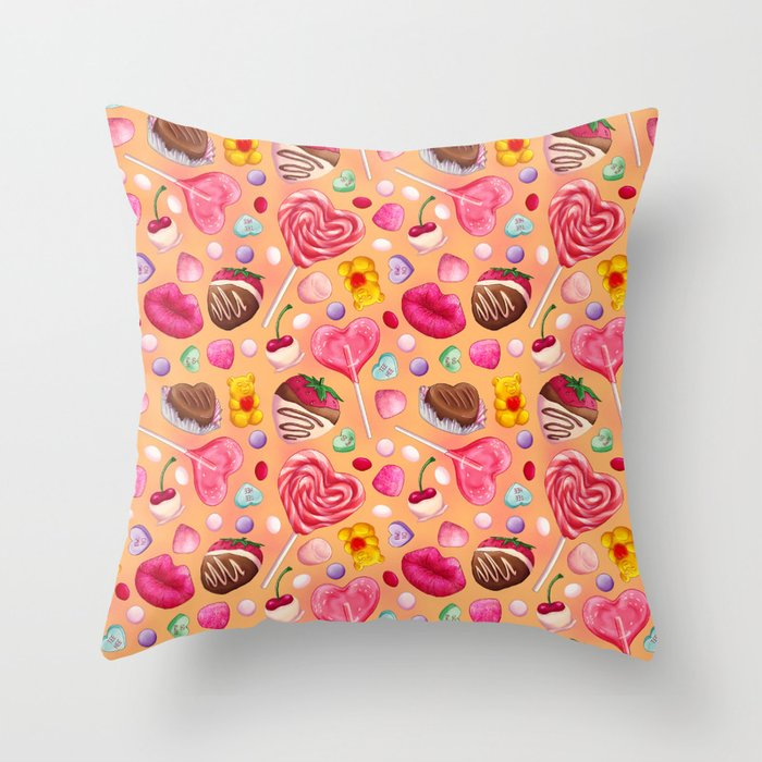 Valentine's Day Candy Pattern Throw Pillow
