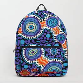 Authentic Aboriginal Art - The Journey Blue Backpack