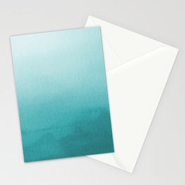 Aqua Teal Turquoise Watercolor Ombre Gradient Blend Abstract Art - Aquarium SW 6767 Stationery Cards