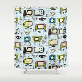 Retro Tv Light Blue #midcenturymodern Shower Curtain