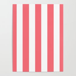 Begonia pink - solid color - white vertical lines pattern Poster
