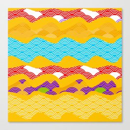Summer bright pattern  scales simple Nature background with Chinese wave circle pattern Canvas Print