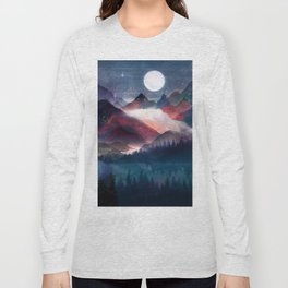 Mountain Lake Under the Stars Long Sleeve T-shirt