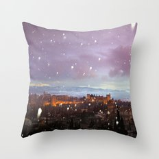 Snowing in the Alhambra, Granada, Spain at sunset Throw Pillow