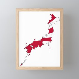 Japanese Map and Flag Framed Mini Art Print