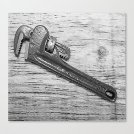 Pipe Wrench - BW Canvas Print