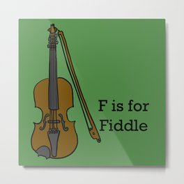 Fiddle, Typed Metal Print