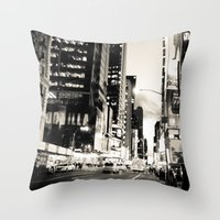 broadway Throw Pillows featuring Broadway Avenue by aldasilva