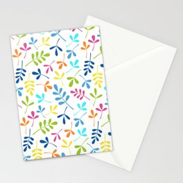 Multicolored Assorted Leaf Silhouette Pattern Stationery Cards