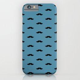 Black Mustache pattern on blue background iPhone Case