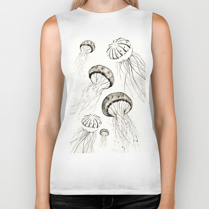 jelly fishes black and white Biker Tank