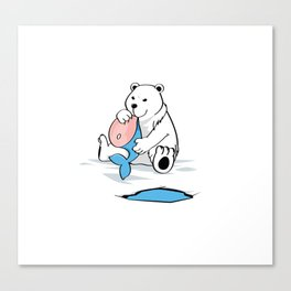 Polar bear with whale Canvas Print