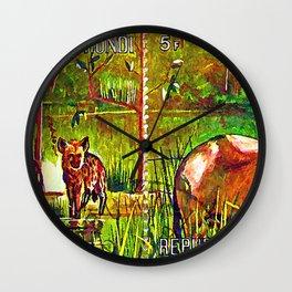 Oryx Beisa and Crocuta Trees Wall Clock