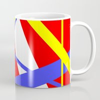 bands Mugs featuring Bands 2 retro stripes by Brian Raggatt