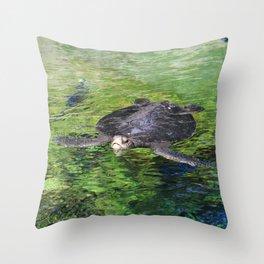Turtle Amongst Gems Throw Pillow