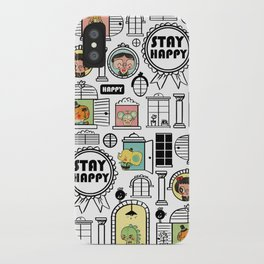 Pattern Stay Happy Animals iPhone Case