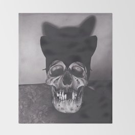 Original Charcoal Drawing of Skull Wearing a Cat Mask Throw Blanket