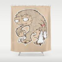 sasquatch Shower Curtains featuring Sasquatch by rebecca miller