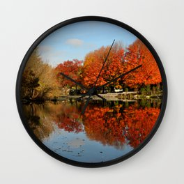 Red Trees in Fall Wall Clock