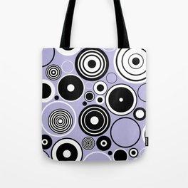 Geometric black and white circles on pastel blue Tote Bag