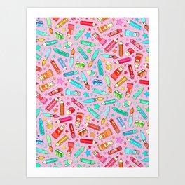 Rainbow Stationary and Art Supplies - Pink Art Print