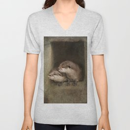 The curious otters Unisex V-Neck