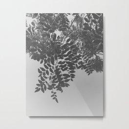 Black & White Green Leaves Metal Print