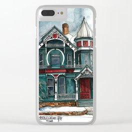 Blue House on a Grey Day Clear iPhone Case