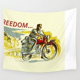Retro vintage style FREEDOM motorcycle Wall Tapestry