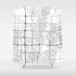 Fargo Map, USA- Black and White Shower Curtain