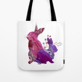 Easter Bunny Fluid Marble Acrylic Art Spring Purple Pink Rabbit Tote Bag