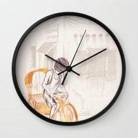 sam smith Wall Clocks featuring Sam by David Fleck
