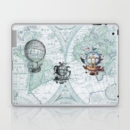 Hot Air Balloons on Antique Map - blue Laptop & iPad Skin