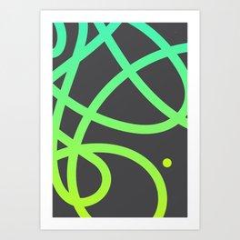 "Untitled minima line ""plus"" dot. (Green) Art Print"
