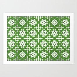 Green and white medallions Art Print