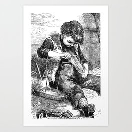 A Bit of Sunshine (1879) - A young boy crafting a boat Art Print