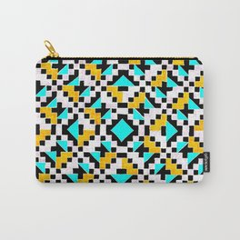 Geometric Inverse Turquoise & Yellow Carry-All Pouch