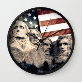 Patriotic Mount Rushmore Wall Clock