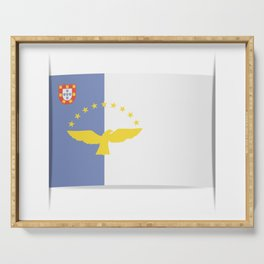 Flag of Azores. The slit in the paper with shadows. Serving Tray