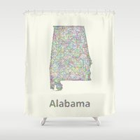 alabama Shower Curtains featuring Alabama map by David Zydd