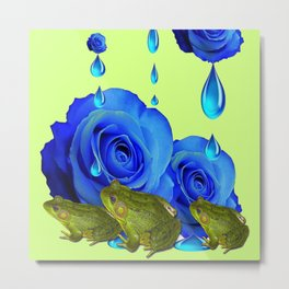 DECORATIVE BLUE SURREAL DRIPPING ROSES & GREEN FROGS Metal Print