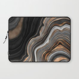 Elegant black marble with gold and copper veins Laptop Sleeve
