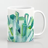 emerald Mugs featuring Emerald Watercolor by Cat Coquillette