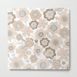 Wall Flowers, Light Blush Pink, Cute, Floral Prints Metal Print