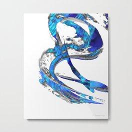 Modern Blue And White Art Painting - Flowing 4 - Sharon Cummings Metal Print