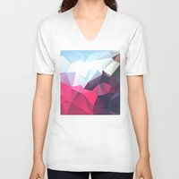 wwe V-neck T-shirts featuring Polygonal by eARTh