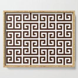 Dark Brown and White Greek Key Pattern Serving Tray