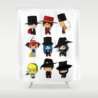 anime Shower Curtains featuring Anime Hatters by artwaste